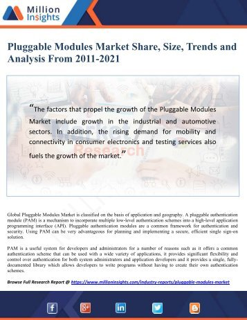 Pluggable Modules Market Share, Size, Trends and Analysis From 2011-2021