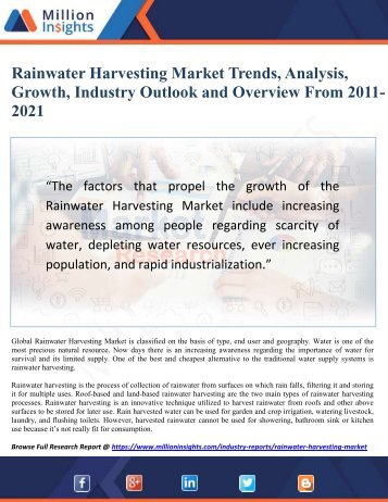 Rainwater Harvesting Market Trends, Analysis, Growth, Industry Outlook and Overview From 2011-2021