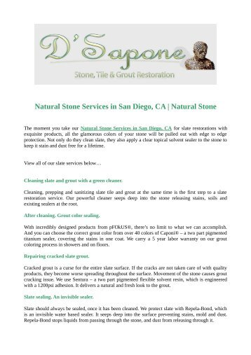 Natural Stone Services in San Diego, CA | Natural Stone