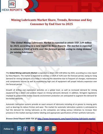 Mining Lubricants Market Share, Trends, Revenue and Key Consumer by End User to 2025
