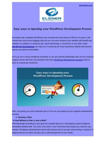 Easy ways to Speedup your WordPress Development Process