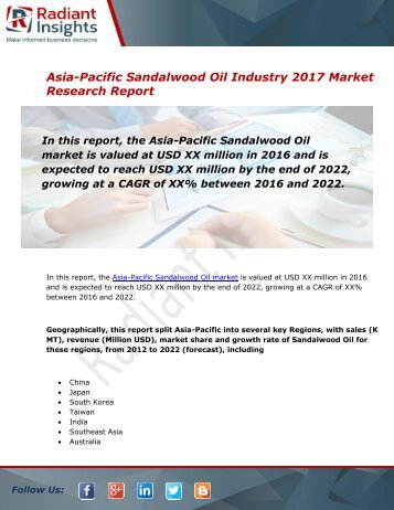 Asia-Pacific Sandalwood Oil Market Size, Share, Trends, Analysis and Forecast Report to 2022:Radiant Insights, Inc