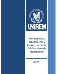 UNIREM-DSE-PRO-05 PROC. PARA CORREGIR ACTA DE CALIFICACIONES LICENCIATURA Rvs