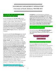 Psychology Department Newsletter USA Winter 2016