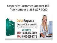 Kaspersky Customer Support Toll-free Number 1-888-827-9060