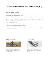 Solution for Blocked Sewer Pipes and Drains in Sydney