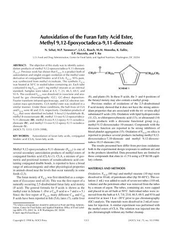 Autoxidation of the Furan Fatty Acid Ester, Methyl 9,12 ...