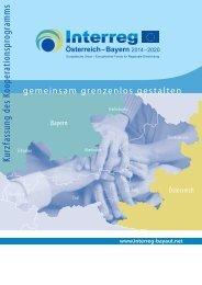 Kurzfassung des Kooperationsprogramms INTERREG Österreich-Bayern 2014-2020
