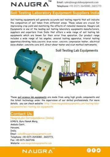 Soil Testing Laboratory Equipment Suppliers India