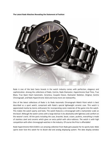 The Latest Rado Watches Revealing the Statement of Fashion