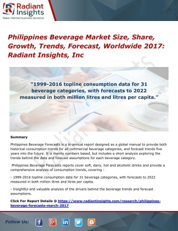 Philippines Beverage Market Size, Share, Growth, Trends, Forecast, Worldwide 2017 Radiant Insights, Inc