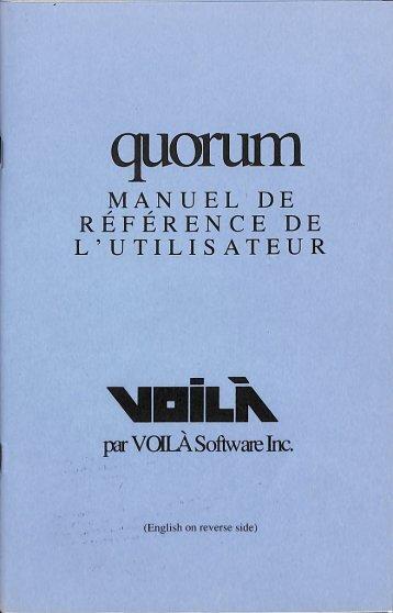 Voilà - Quorum - Documentation - ALEXTel - Français