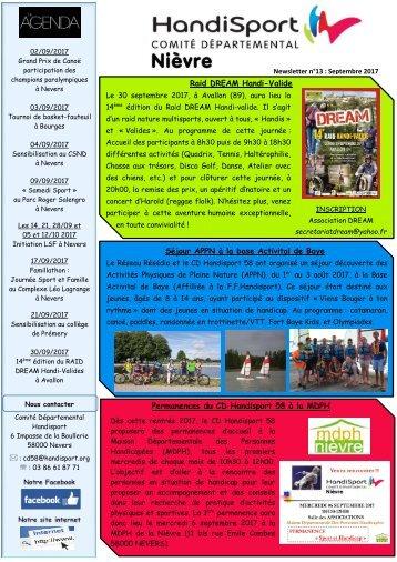 Newsletter n°13 - Septembre 2017