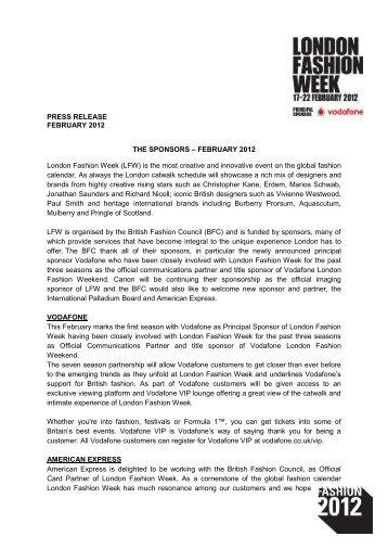 Feb 12 Sponsors.pdf - London Fashion Week