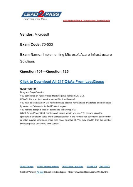 Try Lead2pass Latest Microsoft 70-533 Dumps To Pass The Exam