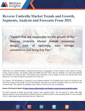 Reverse Umbrella Market Trends and Growth, Segments, Analysis and Forecasts From 2021