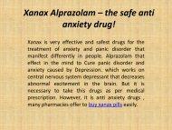 Xanax Alprazolam – the safe anti anxiety drug!