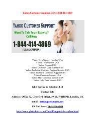 Yahoo Customer Number USA 1877-503-0107