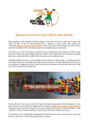 Daycare Services For Your Child In Your Absense