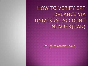How to verify EPF balance via Universal Account
