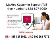 McAfee Customer Support Toll-free Number 1-888-827-9060