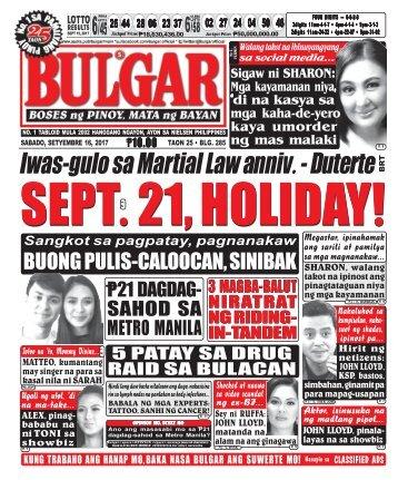 SEPTEMBER 16, 2017 BULGAR: BOSES NG PINOY, MATA NG BAYAN