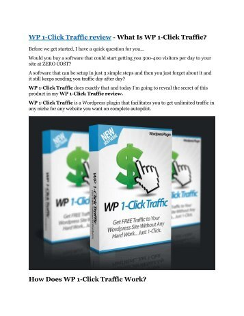 WP 1-Click Traffic review - 65% Discount and FREE $14300 BONUS