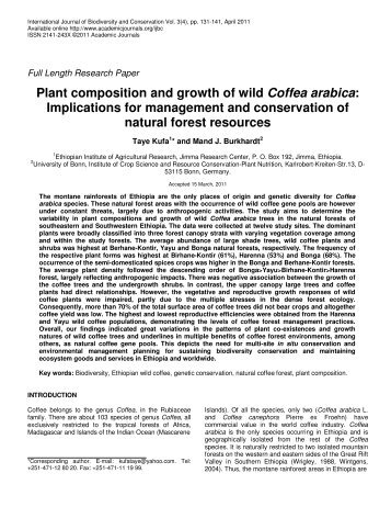 Plant composition and growth of wild Coffea arabica: Implications for ...