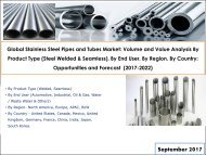 Global Stainless Steel Pipes and Tubes Market -  Opportunities and Forecast (2017-2022)