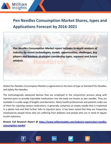 Pen Needles Consumption Market Shares, types and Applications Forecast by 2016-2021