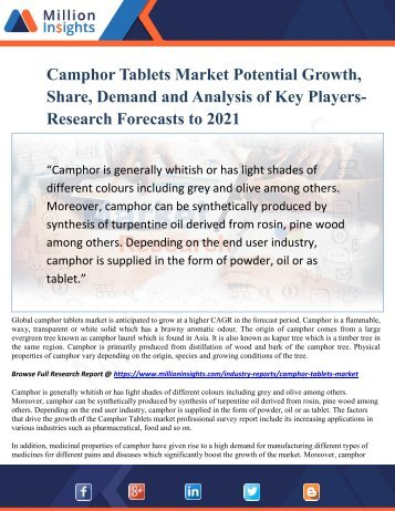 Camphor Tablets Market Potential Growth, Share, Demand and Analysis of Key Players- Research Forecasts to 2021