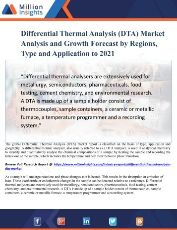 Differential Thermal Analysis (DTA) Market Analysis and Growth Forecast by Regions, Type and Application to 2021