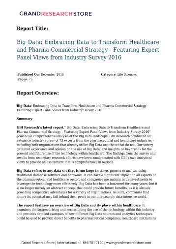 big-data-embracing-data-to-transform-healthcare-and-pharma-commercial-strategy---featuring-expert-panel-views-from-industry-survey-2016-grandresearchstore