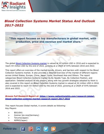 Blood Collection Systems Market Status And Outlook 2017-2022