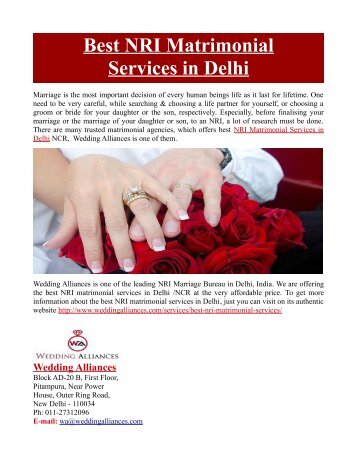 Best NRI Matrimonial Services in Delhi