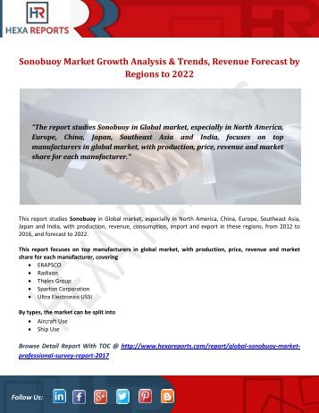 Sonobuoy Market Growth Analysis & Trends, Revenue Forecast by Regions to 2022