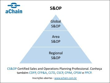CS&OP Certified Sales and Operations Planning Professional. Inscrições em www.achain.com.br