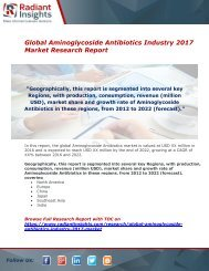 Aminoglycoside Antibiotics Industry Share,Growth And Analysis Report 2017 By Radiant Insights,Inc