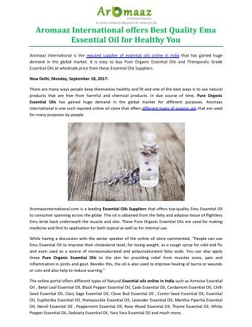 Aromaaz International offers Best Quality Ema Essential Oil for Healthy You