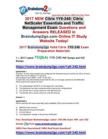 [2017-September-Version]New 1Y0-240 VCE and 1Y0-240 PDF Dumps 75Q&As Free Share(1-10)