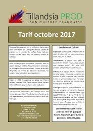 tarif Tillandsia PROD octobre 2017