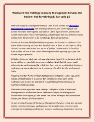 Westward Pub Holdings Company Management Services Ltd Review: Pub forvaltning du kan stole på