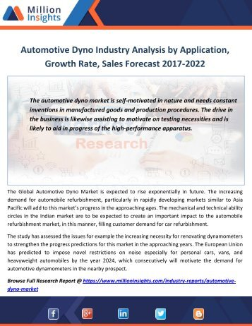 Automotive Dyno Industry Analysis by Application,Growth Rate, Sales Forecast 2017-2022