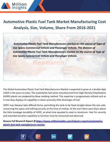 Automotive Plastic Fuel Tank Market Manufacturing Cost Analysis,Size, Volume, Share From 2016-2021