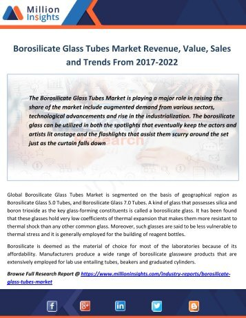 Borosilicate Glass Tubes Market Revenue, Value, Sales and Trends From 2017-2022