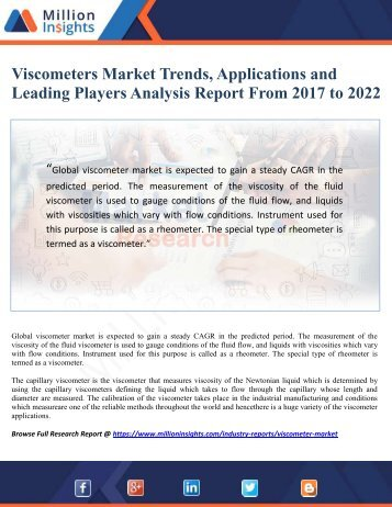 Viscometers Market Trends, Applications and Leading Players Analysis Report From 2017 to 2022