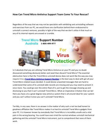 How Can Trend Micro Antivirus Support Team Come To Your Rescue