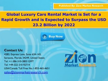 Global Luxury Cars Rental Market, 2016 – 2022