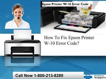 How To Fix Epson Printer W-10 Error Code