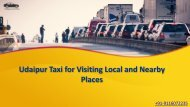 Udaipur Taxi for Visiting Local and Nearby Places
